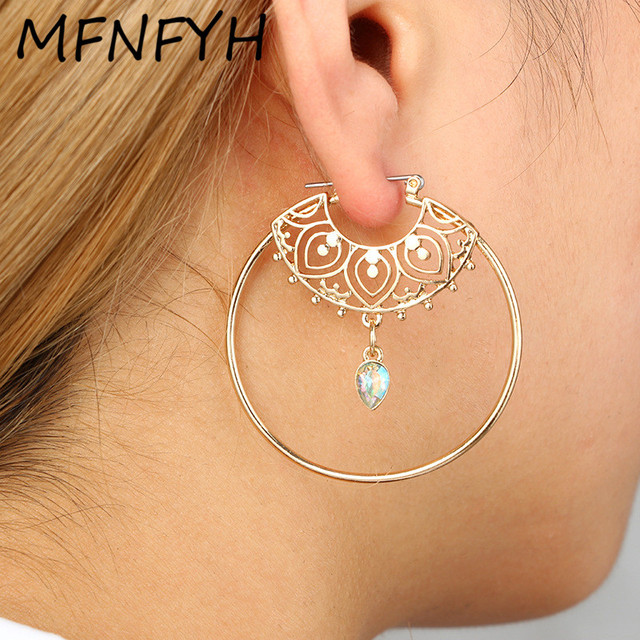 MFNFYH Punk Gold Color Hollow Out Flower Round Large Big Hoop Earrings For Women  Crystal Waterdrop Earrings Party Jewelry Gift ebd17434be6e