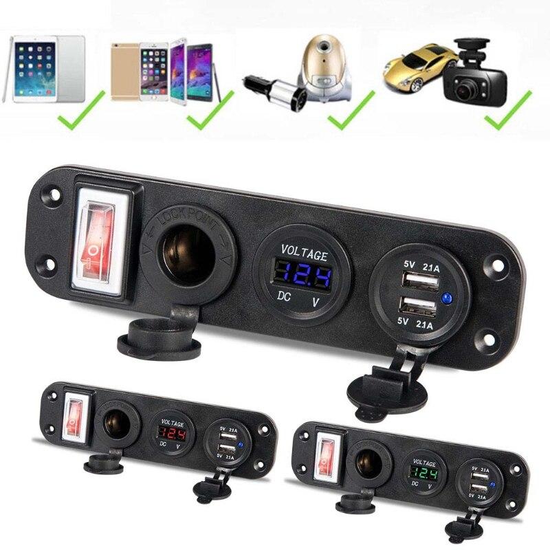 Car Charger Dual USB Adapter 12V Cigarette Lighter Socket LED Voltmeter Switch