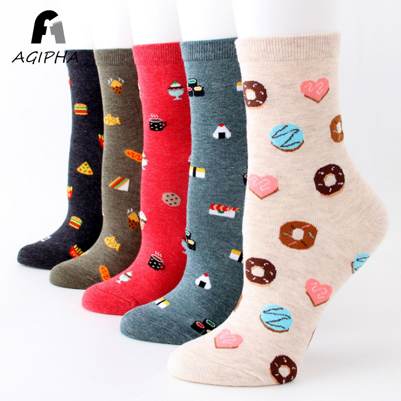Cute Food Patterned   Socks   for Women Casual Cotton Female Funny   Socks   Kawaii Spring Crew   Sock   Calcetines Mujer 5 Colors