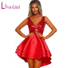 LIVA GIRL Gorgeous Party Gold Sequin Skater Dress Women Sexy V Neck Sleeveless Club Wear Mini Dresses Red Pink Black Vestidos