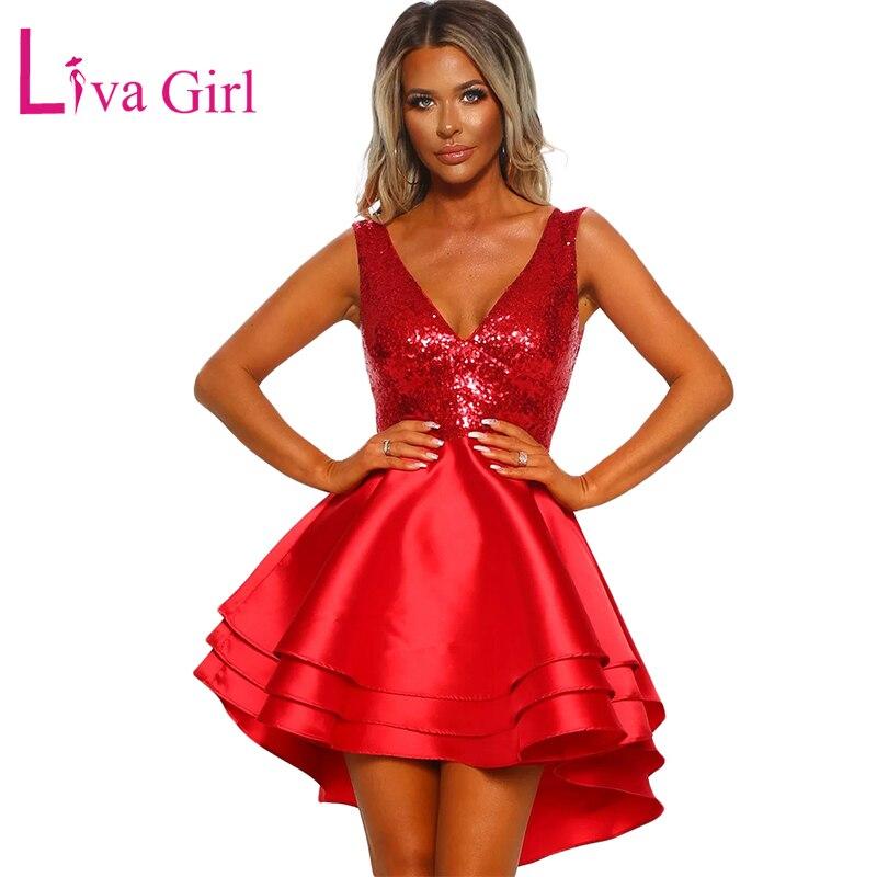 f1e2b59cc Cheap LIVA chica fiesta hermosa oro lentejuelas vestido de las mujeres Sexy  Cuello V sin mangas