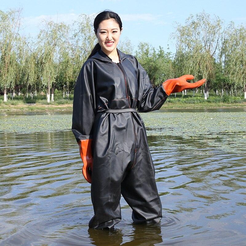 0.9mm Épaississement Imperméable Tout Corps vêtements de pêche résistant à l'usure Échassiers Pantalon À Capuchon Non-slip Bottes Gants Hommes WomenWading Pantalon