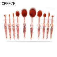10PCS Matel Handl Toothbrush Shape Oval Makeup Brush Brush Set Professional Oval Cream Puff Makeup Brush