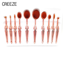 10Pcs Toothbrush Shape Oval Makeup Brushes Professional Oval Cream Puff Brush Cosmetic Fish Brush Tools Matel Handl