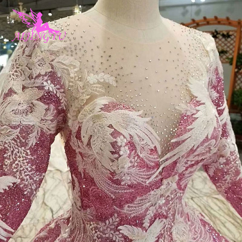 AIJINGYU Sparkle Wedding Dress Gowns Real Plus Sizes Lace
