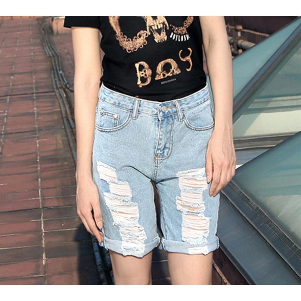 Summer Shorts Womens Ripped Hole Jeans Denim Shorts Knee Length ...