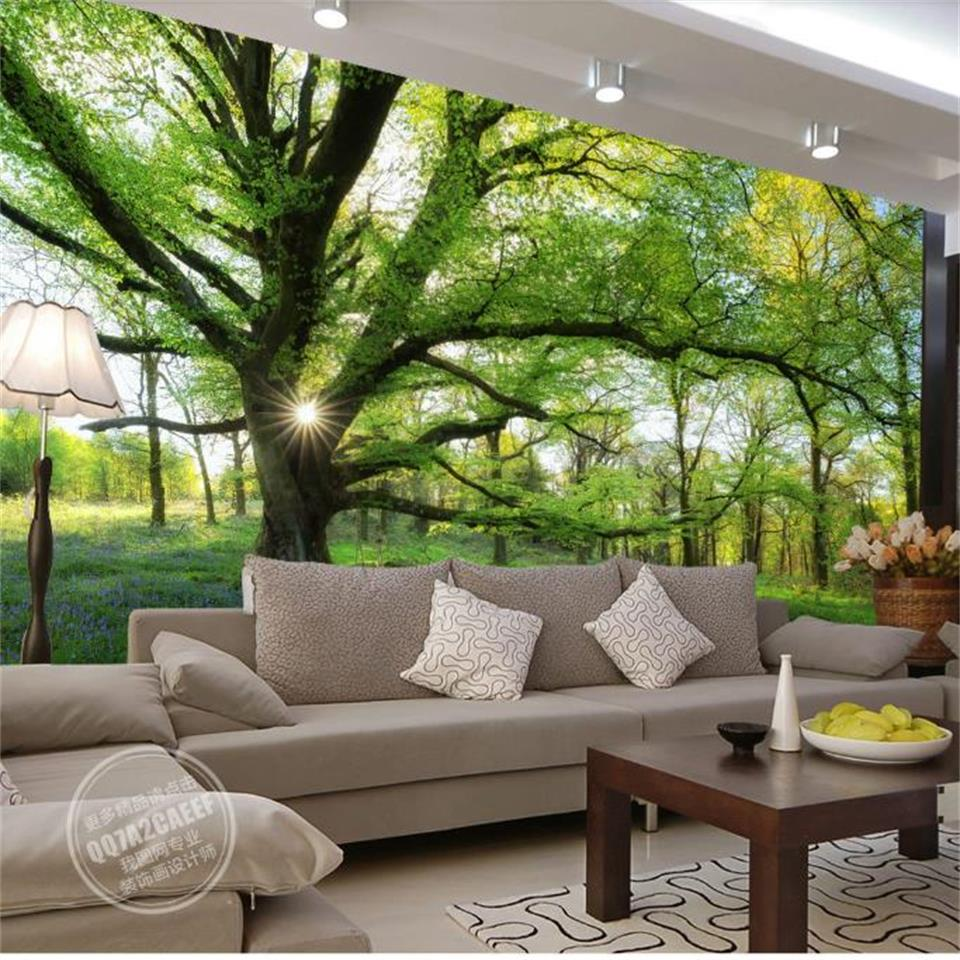 custom 3d photo wallpaper living room mural sunshine forest great tree photo background 3d wall mural wallpaper for living room