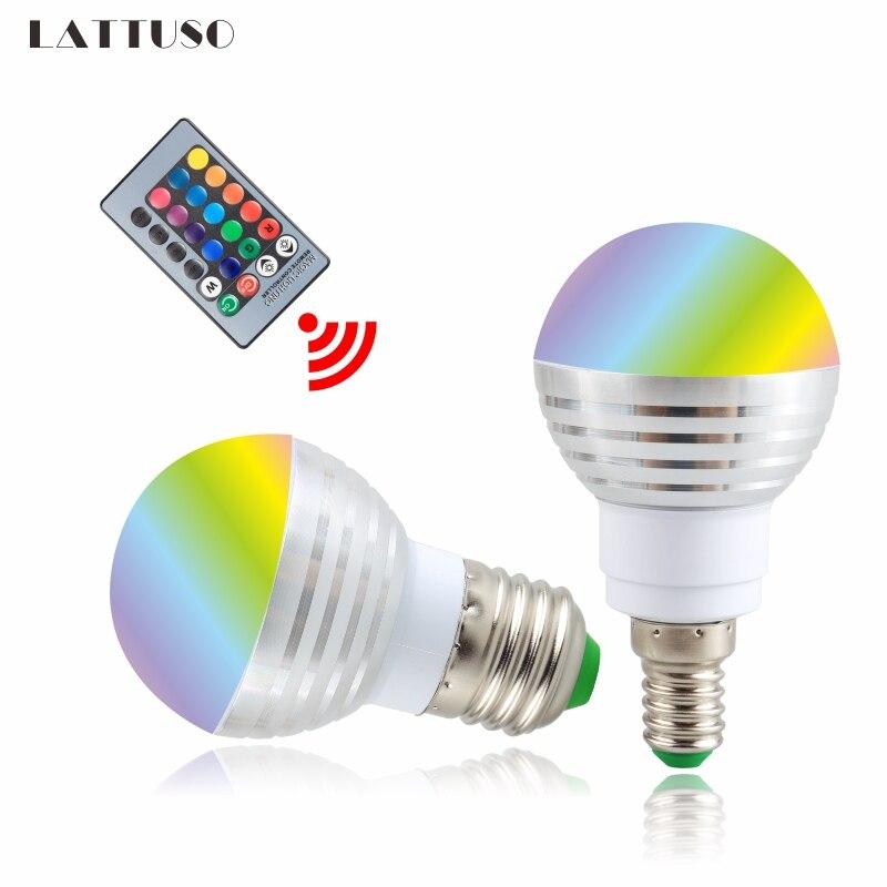 LATTUSO 110V 220V 85-265V E27 E14 LED 16 Color Changing RGB Magic Light Bulb Lamp RGB Led Light Spotlight + IR Remote Control