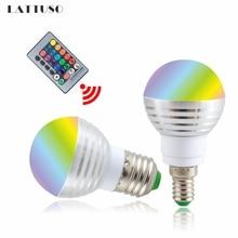 LATTUSO 110V 220V 85-265V E27 E14 LED 16 Color Changing RGB Magic Light Bulb Lamp RGB Led Light Spotlight + IR Remote Control e27 e14 led 16 color changing rgb magic light bulb lamp 85 265v 110v 120v 220v rgb led light spotlight ir remote control 3w 5w