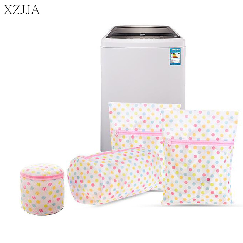 XZJJA 1PC Round Dots Zipper Laundry Bags Women Bra Underwear Washing Machine Mesh Bag Washing Pouch Clothes Protector Net Case