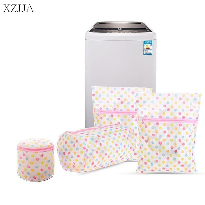 XZJJA 1PC Round Dots Zipper Laundry Bags Women Bra Underwear Washing Machine Mesh Bag Washing Pouch Clothes Protector Net Case