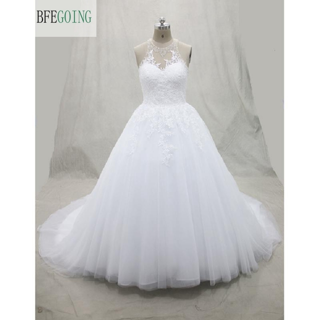 Tulle Lace Appliques Floor Length Scoop Ball Gown Wedding dress ...