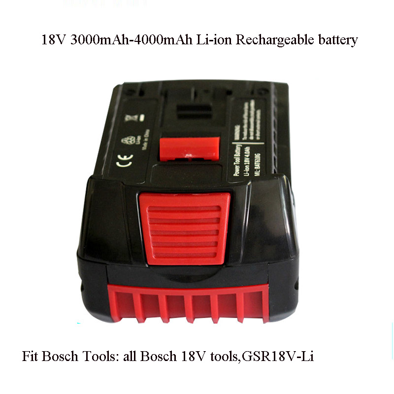 Soravess 18V Li-ion Rechargeable Rattery Pack 3.0Ah-4.0Ah Replace For BOSCH Cordless Electric Drill And Screwdriver Power Tools 1 pc 18v 4000mah rechargeable battery pack power tools batteries replacement cordless for bosch drill bat610 li ion
