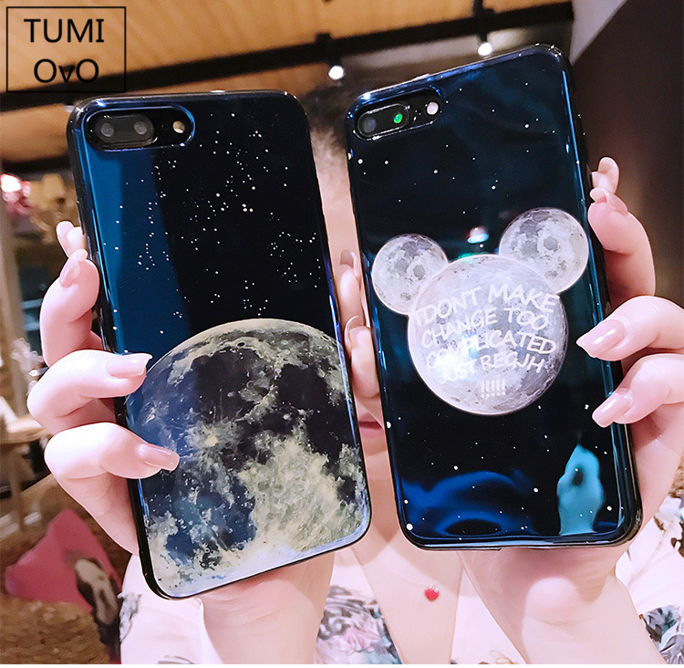 For iPhone X 10 Cartoon Mickey Ear Blue Light Case Soft TPU For iPhone 6 6s Plus 7 Plus 8 Plus Mirror Star Moon Silicon Case