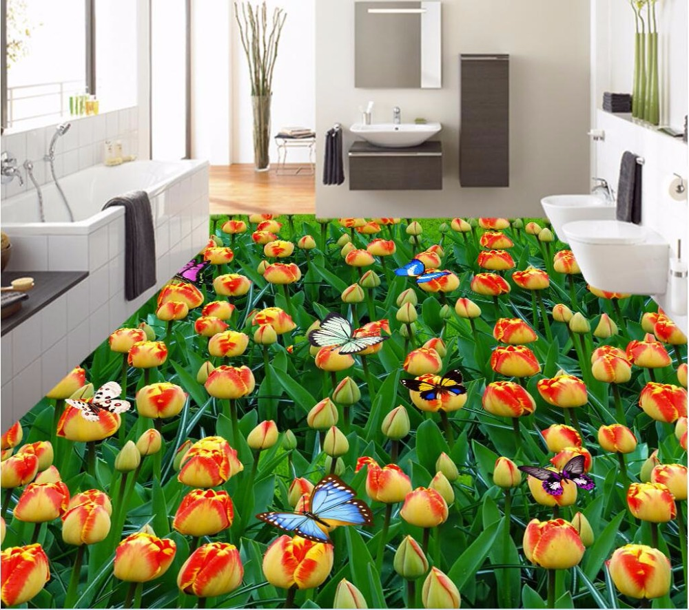 Custom Mural 3d Flooring Picture Pvc Self Adhesive Wallpaper Tulip Flower Butterfly Decor Painting 3d Wall Murals Wallpaper