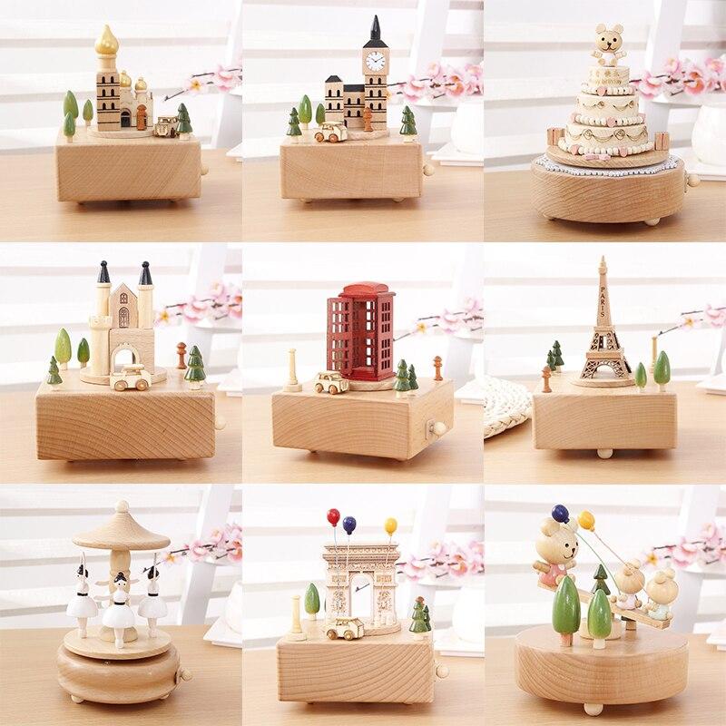 Children Wooden Music Box Handmade Craft Wooden Artware Music Decoration Christmas Music Box Classical Birthday Gift For Girl