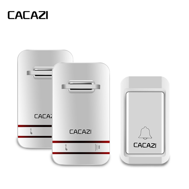 CACAZI Wireless DoorBell No Need Battery Led Light Doorbell Waterproof 220V Kinetic Electronic Door Bell+Push Waterproof Button cacazi wireless cordless doorbell remote door bell chime one button and two receivers no need battery waterproof eu us uk plug