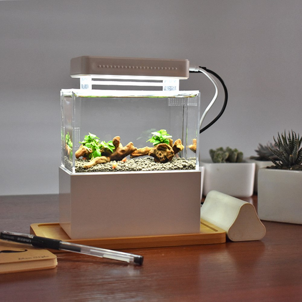Mini réservoir de poisson en plastique Portable Aquarium de bureau bol de poisson avec Filtration de l'eau LED pompe à Air calme accessoires d'aquarium de poisson
