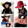 South Korean Children Along The Spring And Winter Wool Hat Baby Woolen Large Brimmed Hats Girls