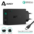 AUKEY 2 USB Charger Type C Quick Charge 3.0 Portable Wall Fast Charger Dual USB Travel Free Fast USB C to C Cable Fast Charging
