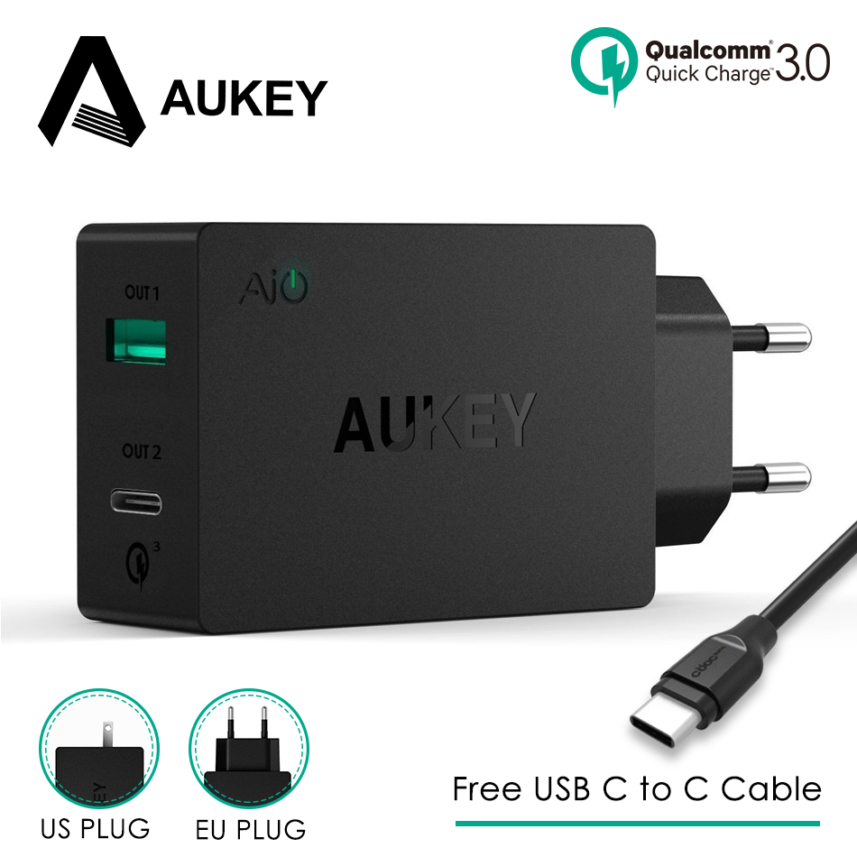 AUKEY 2 <font><b>USB</b></font> <font><b>Charger</b></font> Type C Quick Charge 3.0 Portable Wall Fast <font><b>Charger</b></font> Dual <font><b>USB</b></font> Travel Free Fast <font><b>USB</b></font> C to C Cable Fast Charging image