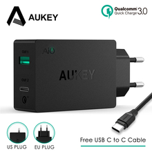 Aukey 2 Usb Charger Type C Quick Charge 3.0 Draagbare Muur Fast Charger Dual Usb Reizen Gratis Snelle Usb C tot C Kabel Snel Opladen