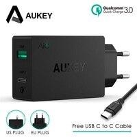 Aukey 2 usb carregador tipo c carga rápida 3.0 portátil carregador de parede rápido dupla viagem usb livre rápido c para c cabo carregamento rápido