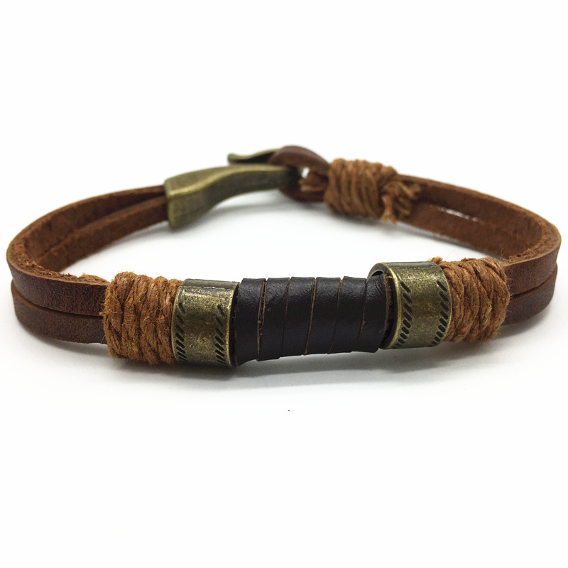 Fashion Design Brown Bronze Punk Handmade Wide Men Leather Bracelets Women Vintage Cuff Bangle Male Homme Jewelry Accessories
