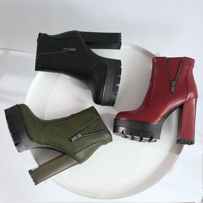 Dames Mujer Femme Bloc dérapage Plate Bottes Noir Chaussures Haute Tianie Green Femmes army Cheville Botas Anti 2018 vin Hiver Talons forme Rouge Pour Mode Sianie De OiXukZP