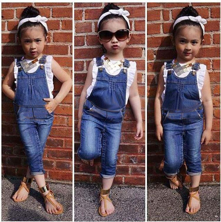 details for detailed pictures order online Vest + Jeans Girl Summer Clothes Set Dungarees Vest Tops White Overalls  Denim Sleeveless Outfits Children Clothes Fall