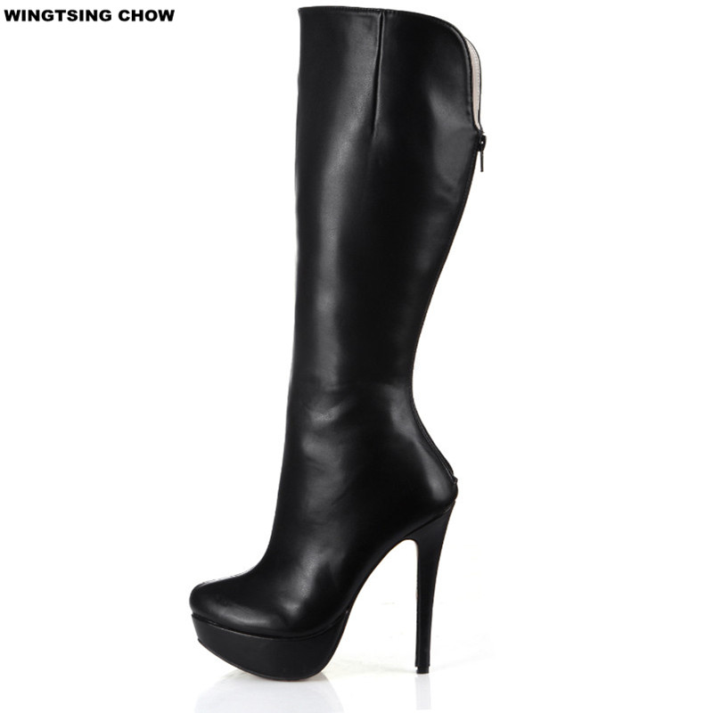 Brand New Autumn Leather Knee High Boots Sexy High Heels Fashion Platform Shoes Women Boots Casual Shoes Woman Pump Black new women knee high boots black and white sexy low heels pu leather autumn winter shoes round flat platform boots botas mujer