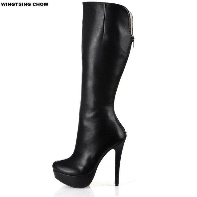 Nouvelles Bottes chaudes de mi mollet a la mode Casual hautes bottes au genou noir 39 HL6xeAKW3