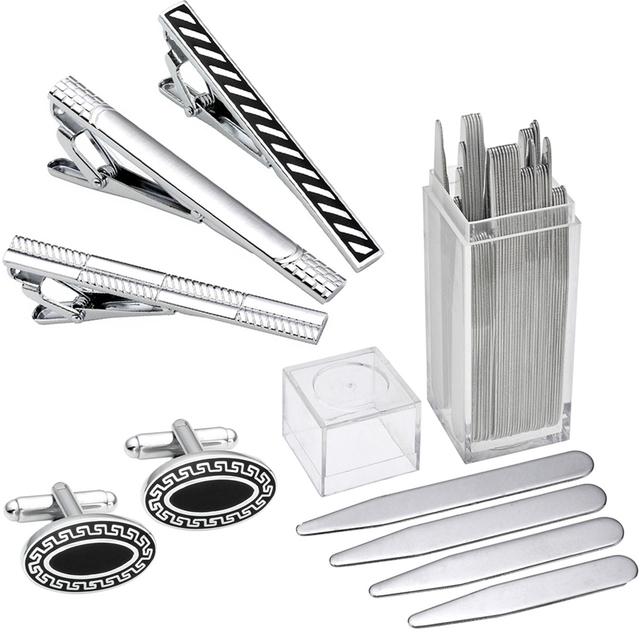 Brand New Alta Qualidade Em Aço Inoxidável Cuff Link e Gravata Clipe conjuntos De Metal Inserções de Estadias de Colarinho Camisas Para Os Homens de Negócios Menino BF filho