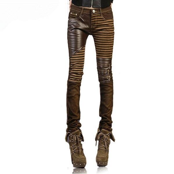 High Quality Pu Leather Jeans for Women 2016 Fashion Casual Pants Feet Denim Woman Pencil Plus Size Black