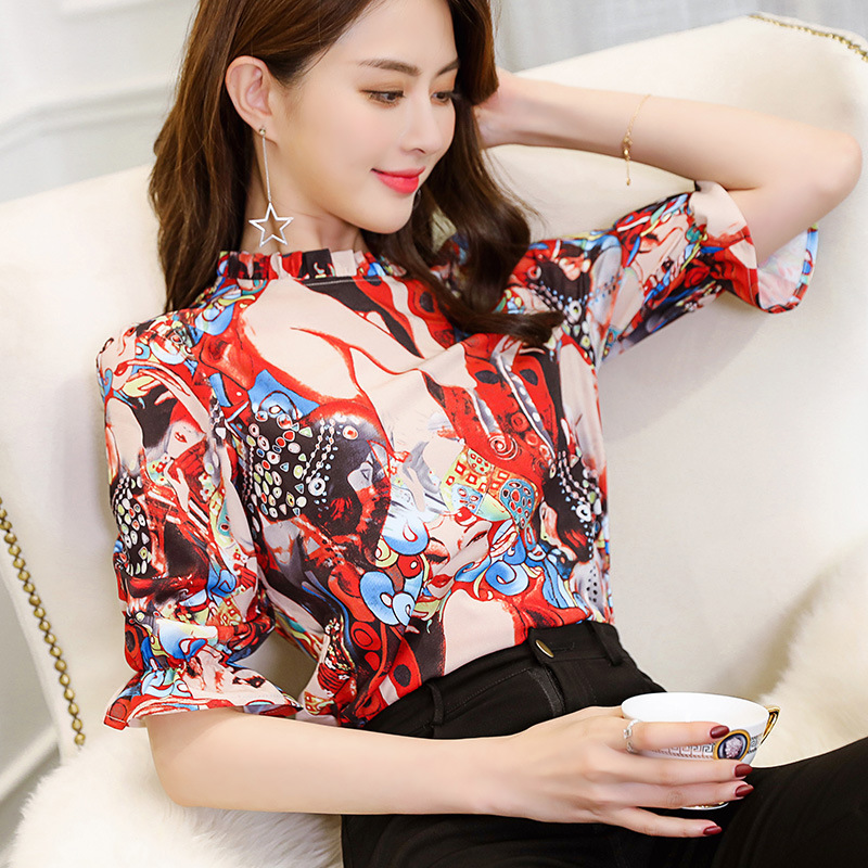 2018 Women Summer Autumn New Fashion Shirt Lady Casual Shirts Chiffon Blouses Office Cartoon Print Blouse Female Tops Plus Size image