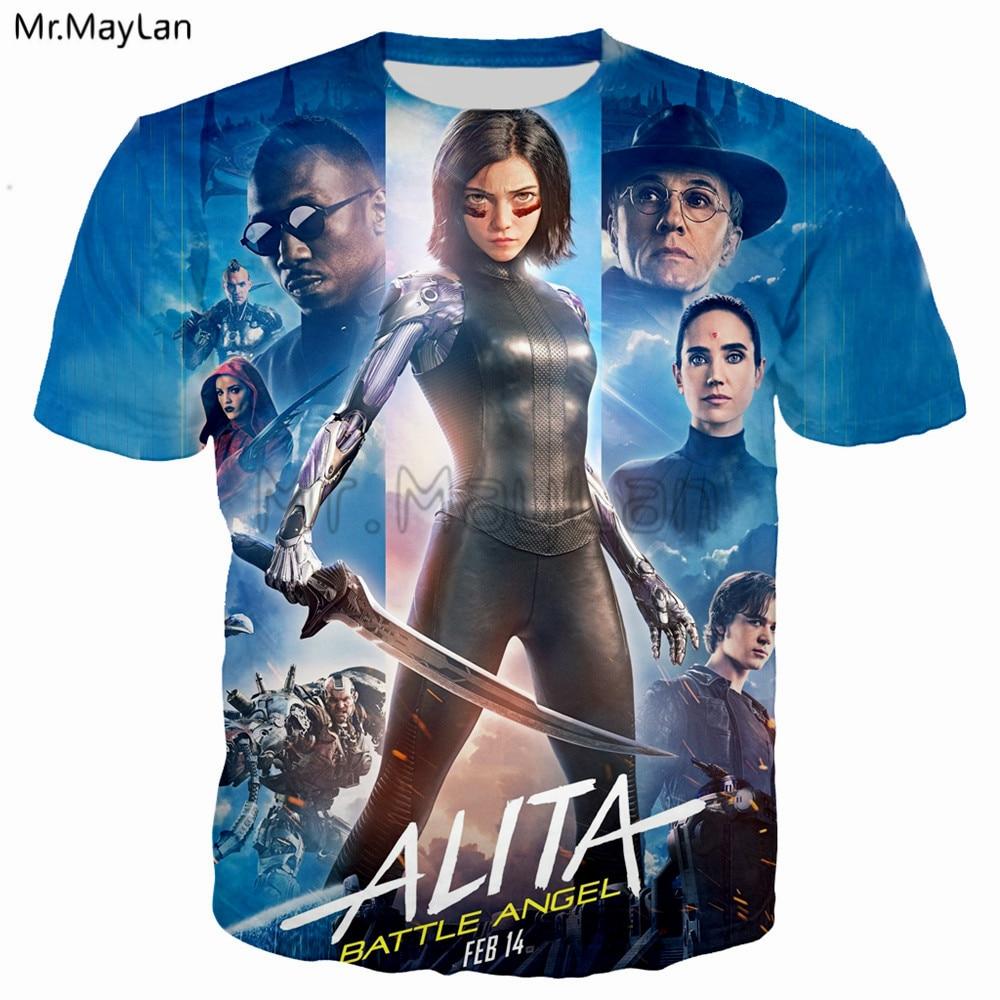 Mechanical Girl Movie Alita: Battle Angel Printed 3D Tshirt Men/Women Hiphop Streetwear Tee T shirt Boys Cool Tops Clothes 5XL