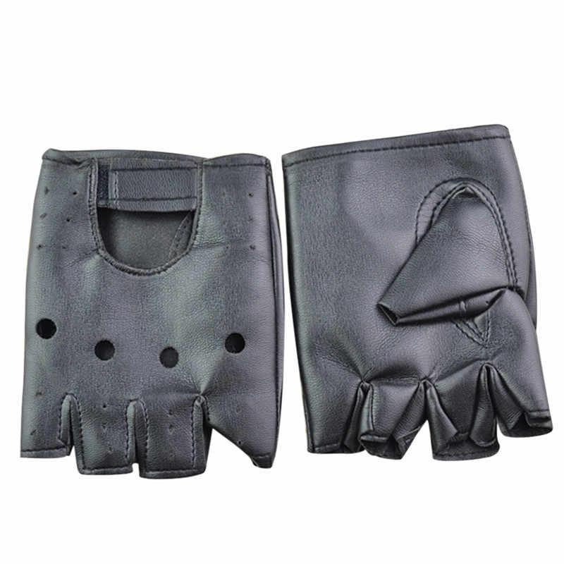 1 คู่แฟชั่นPUหนังHalf Fingerถุงมือผู้หญิงสีดำขายส่งผู้หญิงFingerlessถุงมือ