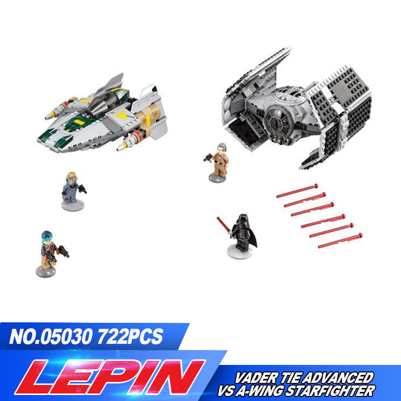 05030 LEPIN 722Pcs  Vader Tie Advanced VS A-wing Starfighter 75150 Building Blocks Compatible legoed with STAR WARS Toy lepin 05035 star wars death star limited edition model building kit millenniums blocks puzzle compatible legoed 75159