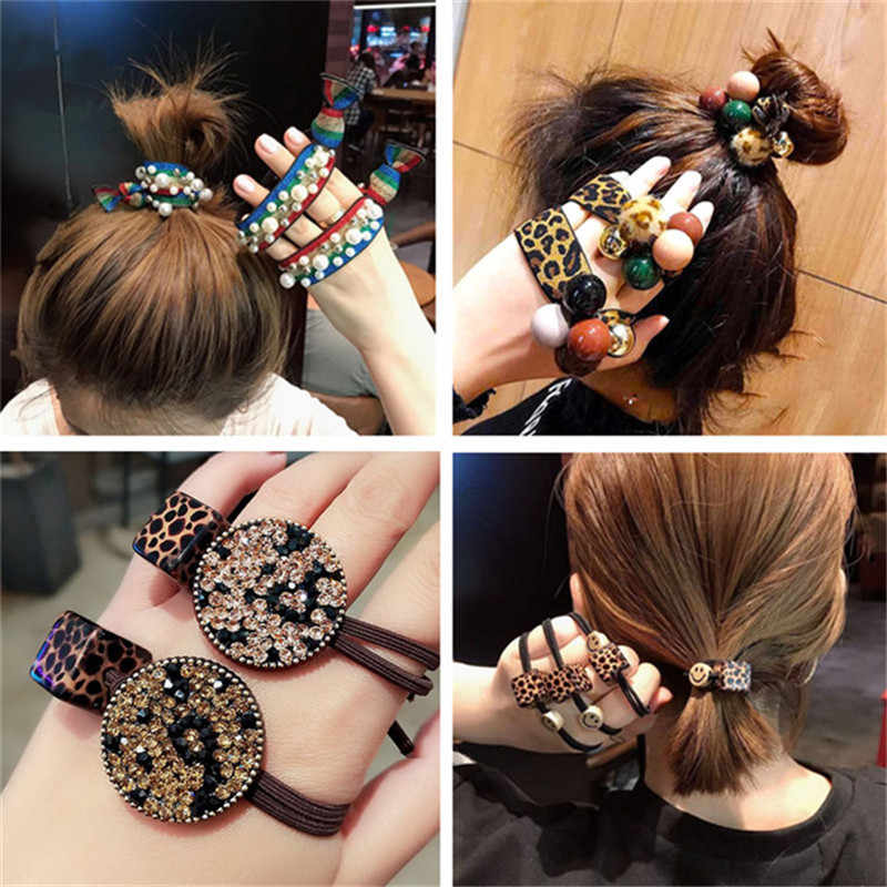 Korean Women Elastic Hair Rope Leopard Pearl Hair Rubber for Ladies Stretchy Rainbow Hair Band Headdress Hair Accessories 1PCS!!
