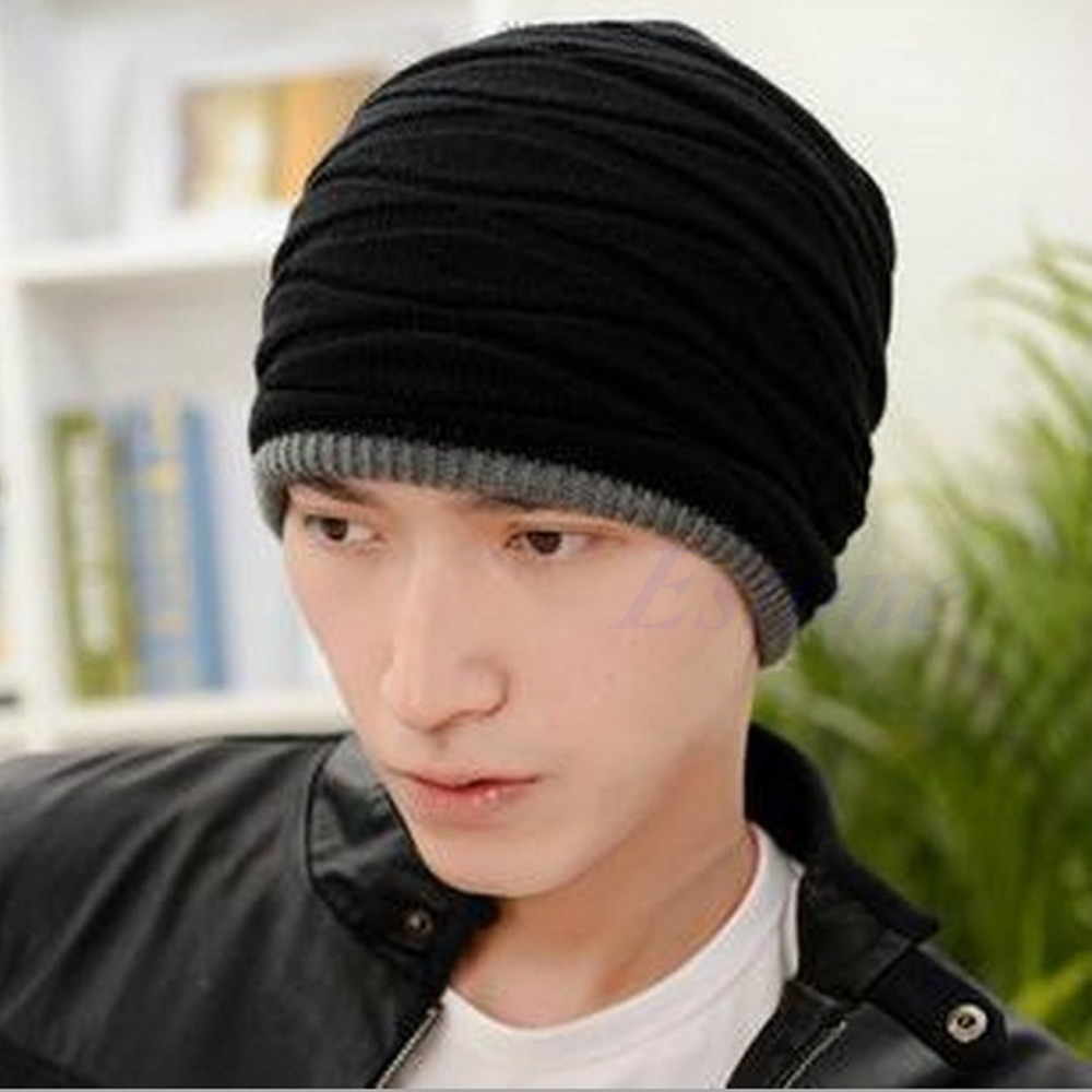 Men Women Knit Beanie Cap Winter Oversized Slouchy Baggy Skull Ski Warm Fold Hat winter casual cotton knit hats for women men baggy beanie hat crochet slouchy oversized ski cap warm skullies toucas gorros 448e