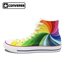 Для мужчин Wo Для мужчин s Converse All Star ручной росписью обувь Дизайн Красочные Радужный Вихрь холст кроссовки Туфли без каблуков с высоким берцем для подарки Подарки