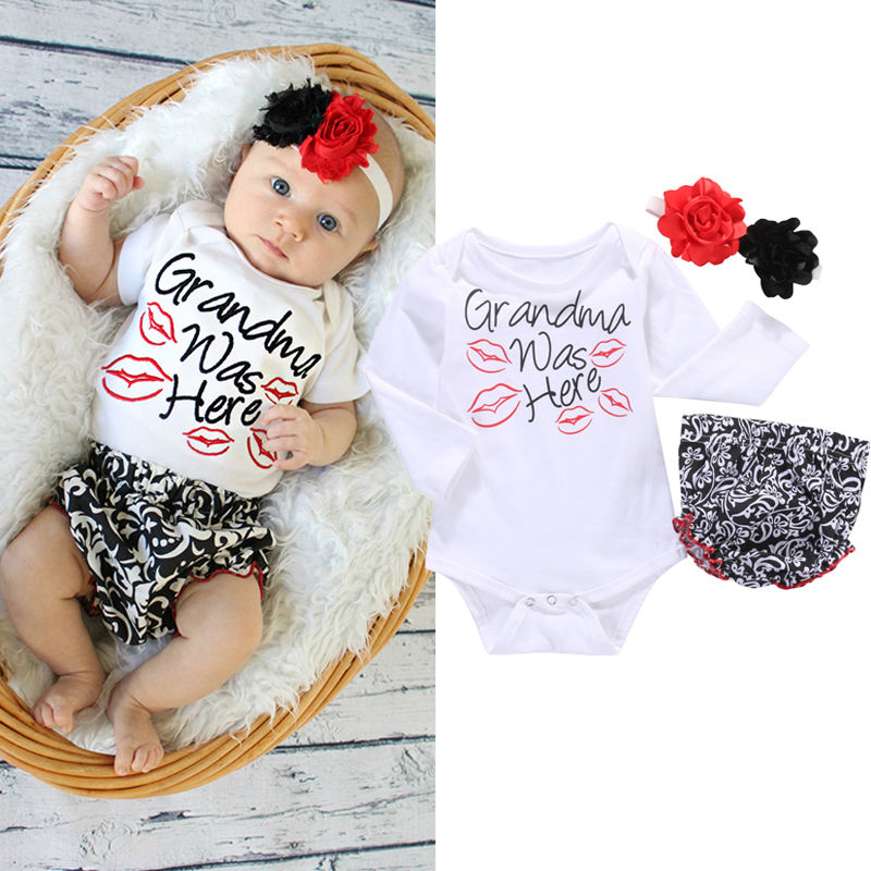 Infant Newborn Baby Girls Clothes Set Flower Headband Romper Bottoms Baby Girl Ruffles 3pcs Outfit Set 2017 floral baby romper newborn baby girl clothes ruffles sleeve bodysuit headband 2pcs outfit bebek giyim sunsuit 0 24m
