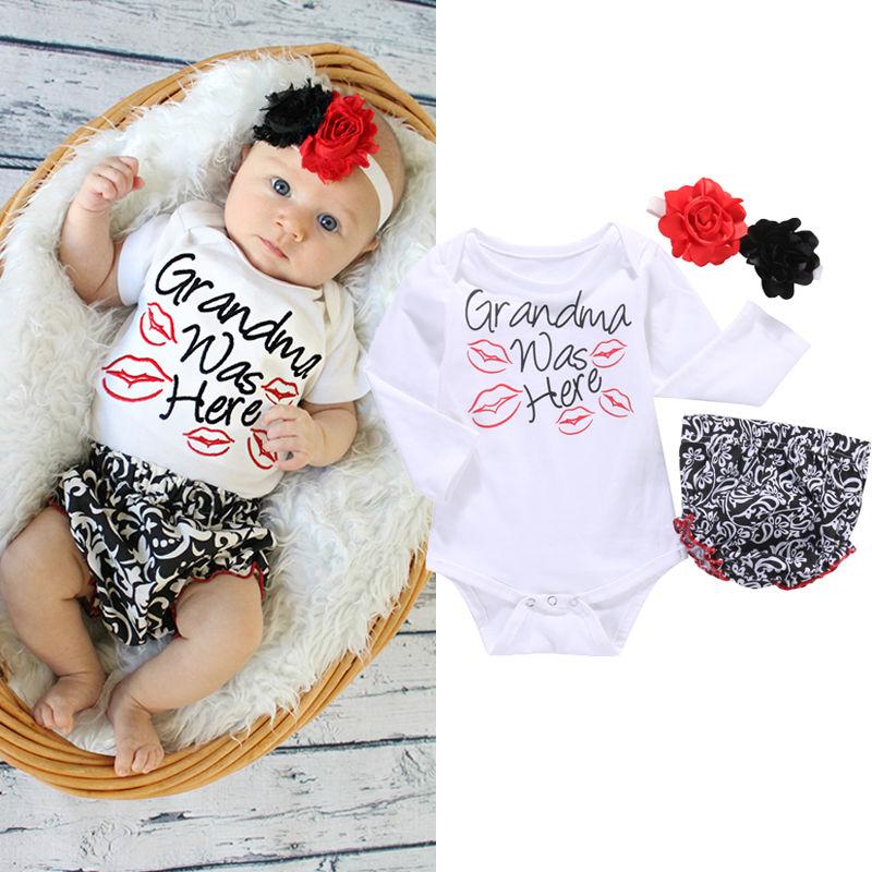 Infant Newborn Baby Girls Clothes Set Flower Headband Romper Bottoms Baby Girl Ruffles 3pcs Outfit Set plain headband 3pcs