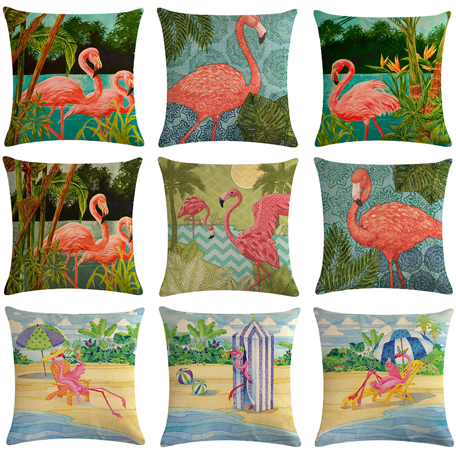 Cartoon Flamingo Bird Pink Cushion Cover Green Tropical Plants Print Linen Pillow Case Mediterranean Decorative Car Home Room-in Cushion Cover from Home & Garden