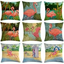 Housse de coussin, motif flamant rose, oiseau, décoration méditerranéenne, vert, impression de plantes tropicales, pour voiture, pour chambre, taie doreiller en lin