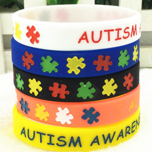 New Autism Awareness Medical Alert Silicone Sports Bracelets & Bangles Fluorescent Rubber Fitness Wristband Bracelet