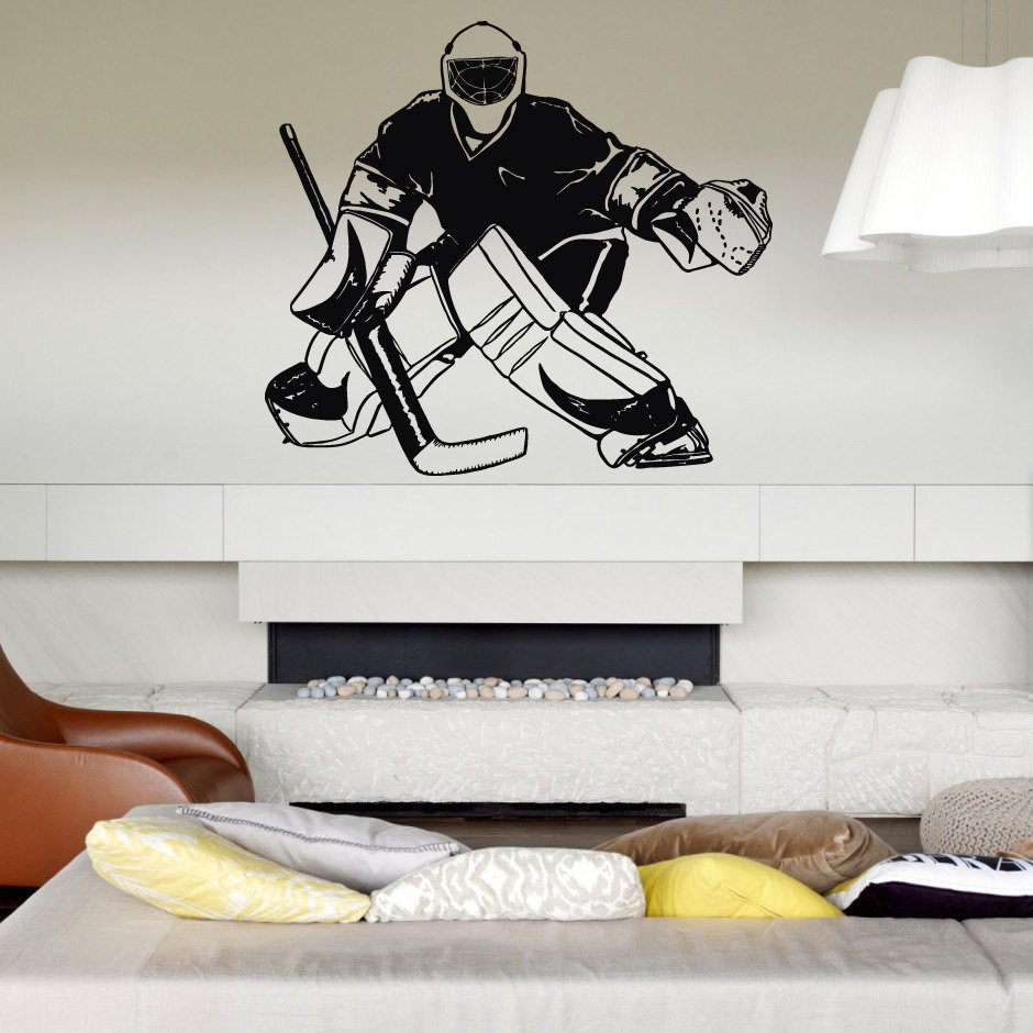 Hockey Player Ice Goalkeeper Wall Decals For Boys bedroom Kids room Nursery Wall Stickers sportsman Wall Art pic Mural M294