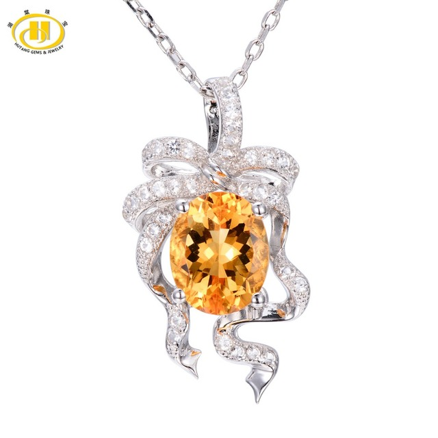 Hutang natural golden citrine white topaz pendant solid 925 hutang natural golden citrine white topaz pendant solid 925 sterling silver necklace fine jewelry for aloadofball Images