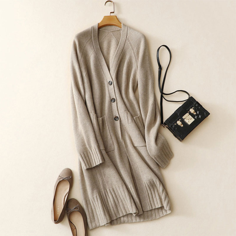 2018 Newest Women's Long Cardigan Sweaters Cashmere Long Sleeves Solid Color V-neck 100% Cashmere Cardigan Sweaters For Women