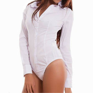 Plain Bodysuit Shirt Leotard Ladies Romper Stretch Long-Sleeve Elegant Dames Plus-Size